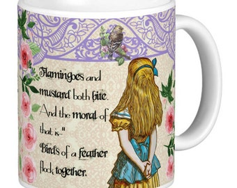 Alice In Wonderland - Double Quote Mug, Mug has a different quote either side, Purple Lattice effect top  - Alice Gift Mug