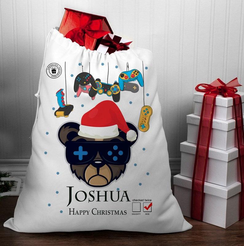 Christmas Sack Gamer Personalized game controller christmas Personalised Christmas Sack Computer Game Christmas Sack