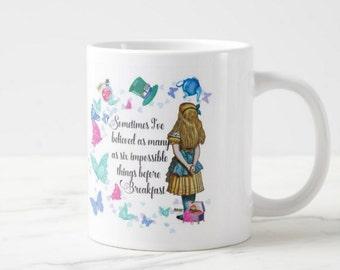 Alice in wonderland mug, six impossible things before breakfast, fun design with butterflies and wonderland items
