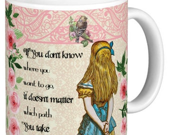 Alice In Wonderland - Double Quote Mug, Mug has a different quote either side, Pink Lattice effect top  - Alice Gift Mug