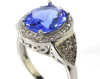 Sterling Silver Rich Blue Violet Ring With AAA CZ Accents Size 6.5