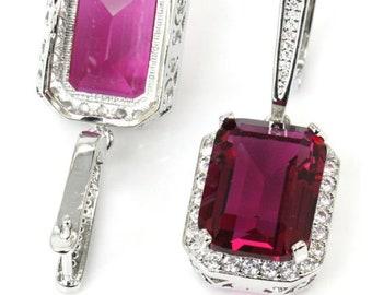 Sterling Silver Pink Tourmaline Gemstone Earrings & AAA CZ Accents