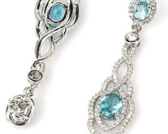 Sterling Silver Rich Blue Aquamarine Gemstone Drop Earrings With AAA CZ Accents