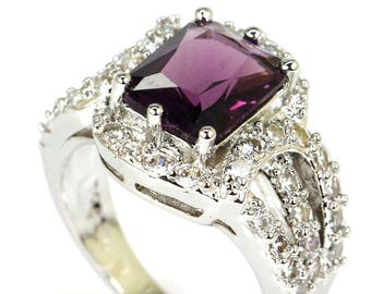 Sterling Silver Purple Amethyst Gemstone Ring With AAA CZ Accents Size 8