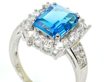 Sterling Silver Swiss Blue Topaz Gemstone Ring  With AAA CZ Accents Size 8.25