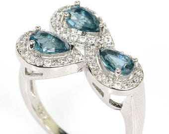 Sterling Silver London Blue Topaz Gemstone Ring With AAA CZ Accents Size 9.25