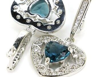 Sterling Silver London Blue Topaz Gemstone Heart Earrings & AAA CZ Accents