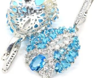 Sterling Silver Swiss Blue Topaz Gemstone Drop Earrings With AAA CZ Accents