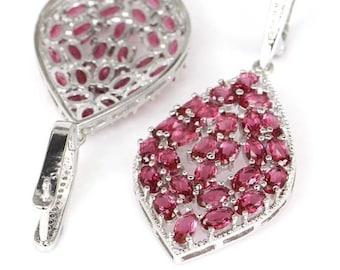 Sterling Silver Pink Raspberry Rhodolite Garnet Drop Earrings With AAA CZ Accents