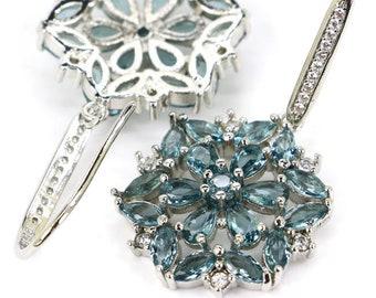 Sterling Silver London Blue Topaz Gemstone Earrings & AAA CZ Accents