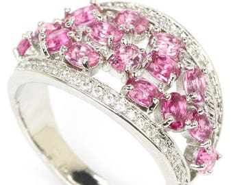 Sterling Silver Pink Tourmaline Gemstone Ring With AAA CZ Accents Size 7.25