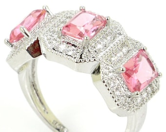 Sterling Silver Pink Topaz Gemstone Ring With AAA CZ Acents Size 9.5