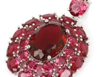 Sterling Silver Pink Raspberry Rhodolite Garnet Gemstone Pendant