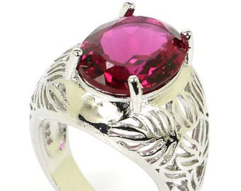 Sterling Silver Pink Tourmaline Gemstone Ring Size 8.5