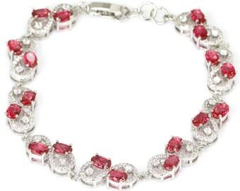 Sterling Silver Pink Raspberry Rhodolite Garnet Gemstone Bracelet With AAA CZ Accents