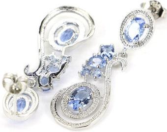 Sterling Silver Rich Blue Violet Tanzanite Gemstone Drop Earrings