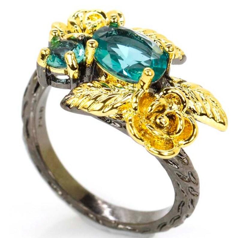 Sterling Silver Black Gold Rich Blue Aquamarine Gemstone Ring Size 6.0