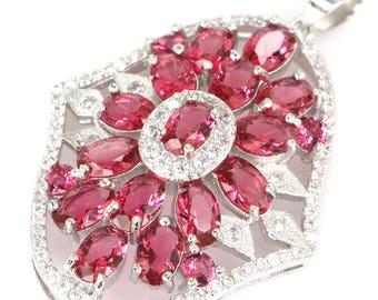 Sterling Silver Pink Raspberry Rhodolite Garnet Gemstone Pendant & AAA CZ Accents