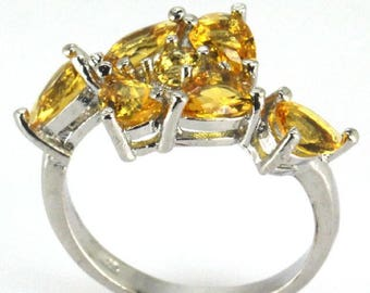 Sterling Silver Golden Citrine Gemstone Ring Size 7
