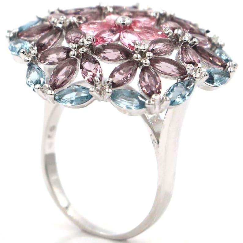 Sterling Silver Bold Large Multi Gemstone Ring Ameythyst Tourmaline Topaz  Size 10.5