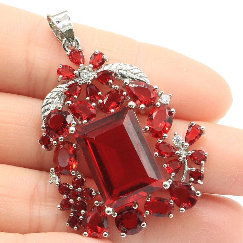 Sterling Silver Blood Ruby Gemstone Pendant