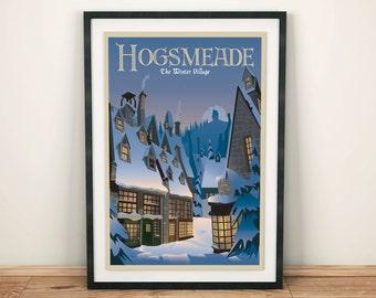 Harry Potter Hogsmeade   Winter Seasonal   Book / Travel Poster    Unframed