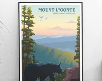 Mount LeConte Great Smoky Mountains | Travel Poster | Unframed