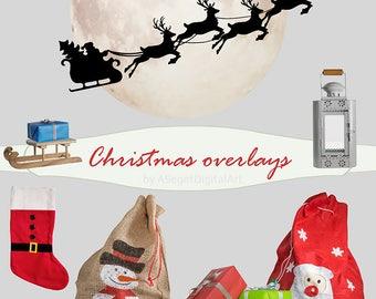 Christmas overlays, photo overlay, Santa Claus overlay, moon overlay, lanter overlay, sled overlay, gifts overlays, bag overlay