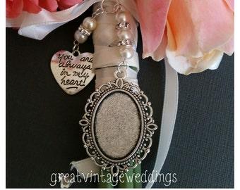 b40e986dc7a2a Beautiful Wedding Bouquet Photo Charm Photo Frame Silver Pendant Locket and  Heart Charm   Gift Bag