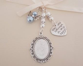 "Bouquet Charm, Wedding locket, Silver Oval Bridal Bouquet Locket, ""always in heart"" charm, Angel Charm, a clear cover & Gift Bag"