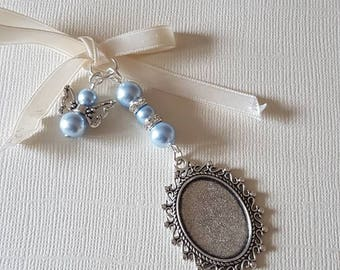 be73ff157712b Beautiful Wedding Bouquet Photo Charm Silver Photo Frame Bridal Bouquet  Locket and Angel Charm with blue pearls a clear cover   Gift Bag