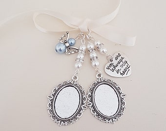 """Double Bouquet Charm, Wedding locket, Silver Oval Bridal Bouquet Locket, """"always in heart"""" charm, Angel Charm, a clear cover & Gift Bag"""