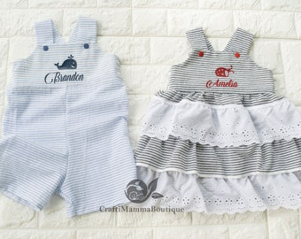UK Sisters Brothers Matching Kids Toddler Boys Girls Christmas Plaid Romper New