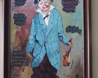 """Charles Wilton Oil Painting """"Clown"""""""