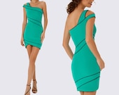 Green asymmetrical mini dress, Dress bright green mini, One Shoulder Green Dress, Green Tight Sexy Dress