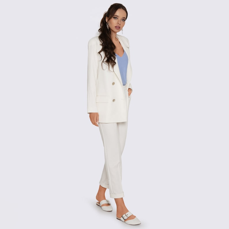 White Women Suit with Trousers Women White Set Jacket and eVrwtmDi