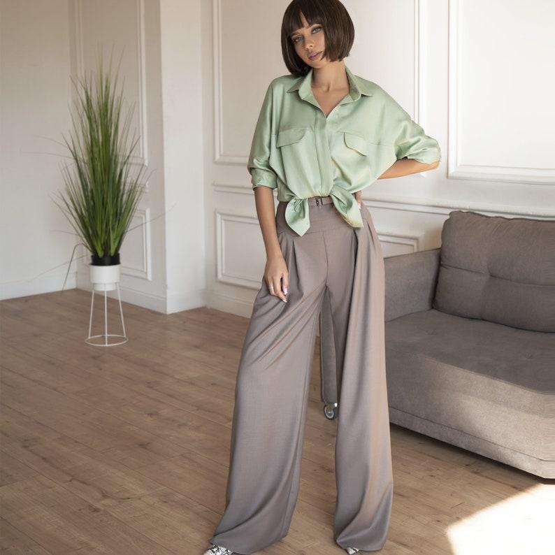 Women/'s Palazzo Trousers Women/'s Wide Leg Pants in Brown High Waisted Palazzo Pants Women Dark Beige High Waist Pants