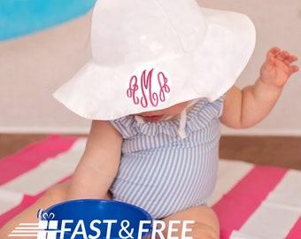 565c8da63dabd White Wide Brim Sun Protective Baby and Toddler Sun Hat for Girls -  Personalization Name Option- Baby Girl Sun Hat - Toddler Sun Hat - White
