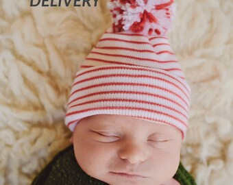 Melondipity Christmas Candy Cane Striped Hospital Hat with Mixed Red   White  White Pom Pom- Christmas Hospital Hat - Newborn Hat - Baby Hat 37fba8a45d1f