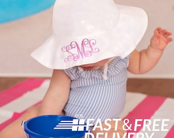 9e3084ec6df White Wide Brim Sun Protective Baby and Toddler Sun Hat for Girls -  Personalization Name Option- Baby Girl Sun Hat - Toddler Sun Hat - White