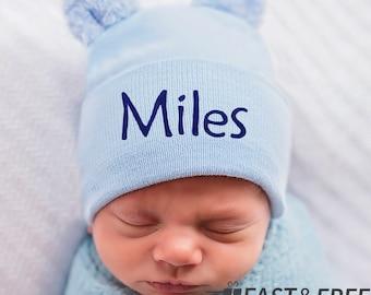 eb1a512217a24 Personalized Fuzzy Blue Bear Ears Personalized Newborn Boy Hospital Hat-Nursery  Beanie for Baby Boys - Hospital Hat-Personalized Baby Hat
