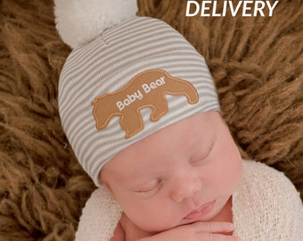 79a3fc2462e Melondipity Grey and White Striped White Pom Pom Baby Hat with Baby Bear  Patch - Newborn Boy Hospital Hat - Baby Boy Hospital Hat - Baby Hat