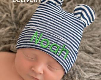 196d965bbc262 Melondipity Newborn Boy Hospital Hat - Baby Bear Hat - Striped Hospital Hat  - Baby Bear Striped Hat - Navy Blue and White Stripes Newborn