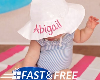 103fc4fc9df79 White Wide Brim Sun Protective Baby and Toddler Sun Hat for Girls -  Personalization Name Option- White Baby Sun Hat - Toddler Sun Hat -