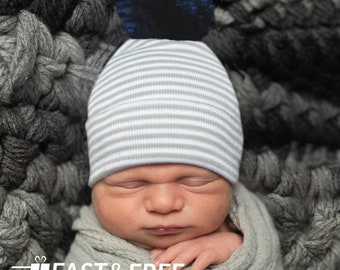 b826bed2955 Newborn Hospital Hat Grey and White Striped Newborn Boy Hospital Hat with NAVY  BLUE Pom Pom- Baby Boy Hat with Pom Pom - Striped Infant Hat
