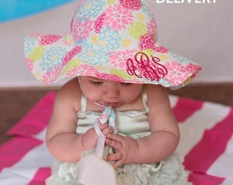 cf71bcb075f3e Melondipity Camellia Floral Print Baby and Toddler Sun Hat with Sun  Protection - Floral Sun Hat - Monogrammed Sun hat Baby Girls