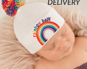 5396db4d455 Rainbow Pom Pom and Rainbow Patch Baby Hat - White - Gender Neutral  Hospital Hat Rainbow Pom Pom and Rainbow Patch Baby Hat - White Hat