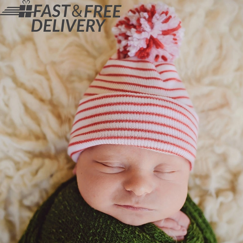 344a996ed Melondipity Christmas Candy Cane Striped Hospital Hat with Mixed Red &  White White Pom Pom- Christmas Hospital Hat - Newborn Hat - Baby Hat