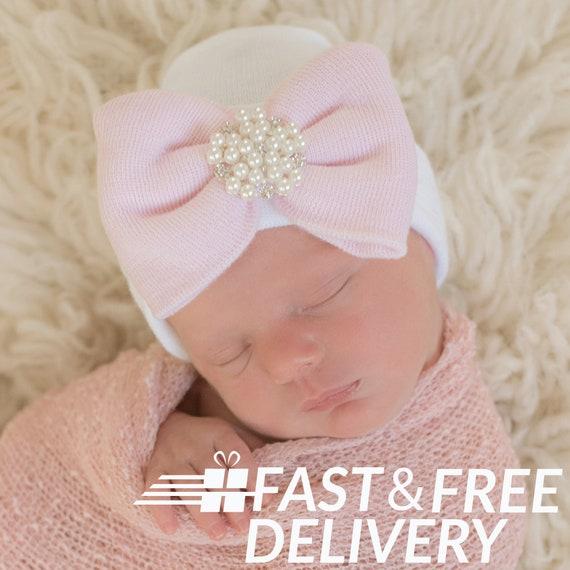 Handmade newborn hat bonnet girls bow pink new crochet white small tiny baby