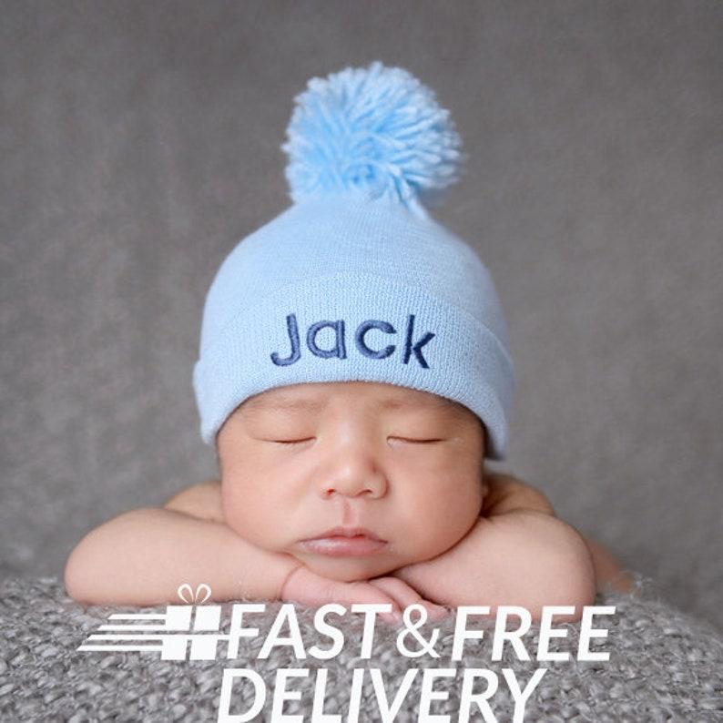 af39c0035b0 Newborn Boy Hospital Hat PERSONALIZED Baby Blue Pom Pom